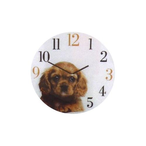 GLASS WALL PICTURE DOG CLOCK. Design KING CHARLES SPANIEL by Naturecraft BoB Best of Breed. 30cm