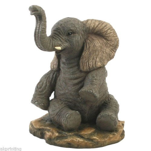 Hand Painted Elephant Sitting Trunk Up Figurine Ornament Gift Statue