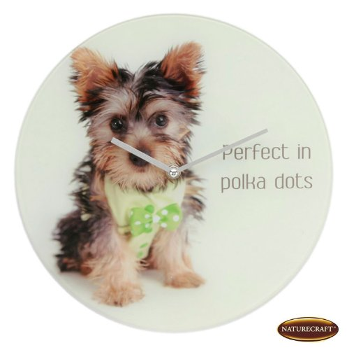 Pawz by Naturecraft 12″ Glass Round Wall Clock – Yorkie with Bow Design