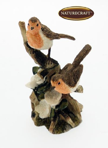 Naturecraft Garden Birds – 2 Robins On A Branch Ornament