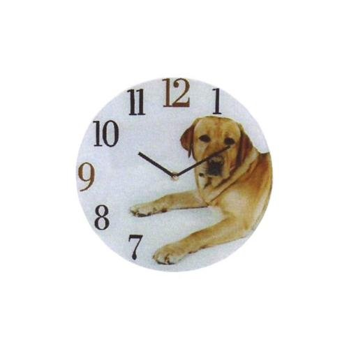 GLASS WALL PICTURE DOG CLOCK. Design LABRADOR by Naturecraft BoB Best of Breed. 30cm