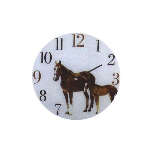 GLASS WALL PICTURE HORSE CLOCK. Design HORSE AND FOAL by Naturecraft BoB Best of Breed. 30cm