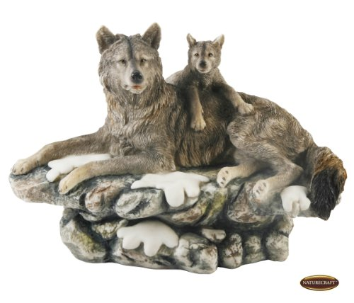Realistic Naturecraft Wolf and Cub On Rocks Figurine