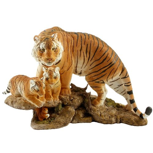 Naturecraft Hand Painted Yellow Tiger Mother & Cubs Figurine Ornament Gift