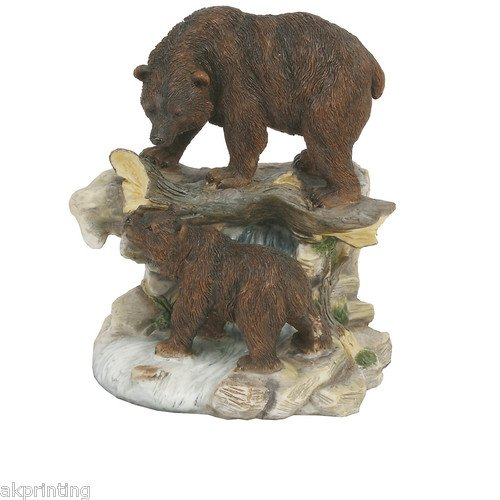 Hand Painted Two Bears On Rocks Figurine Ornament Gift Statue Figure