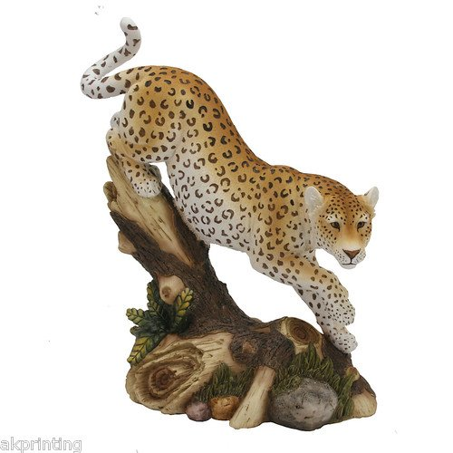 Hand Painted Leopard Figurine Ornament Gift Statue