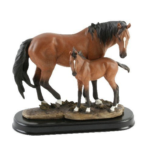 Naturecraft Hand Painted Horse & Foal Standing Figurine Ornament Gift Statue
