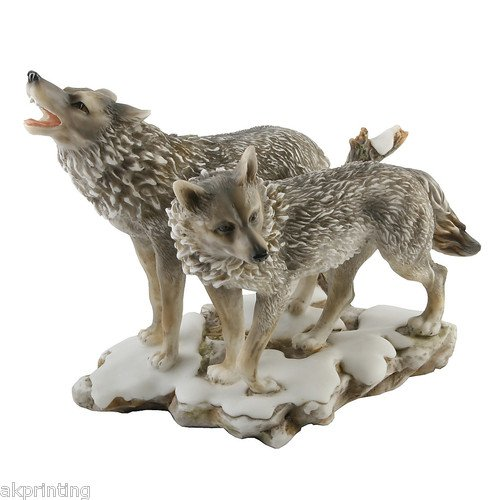 Naturecraft Large Realistic Wolves Standing / Figurine