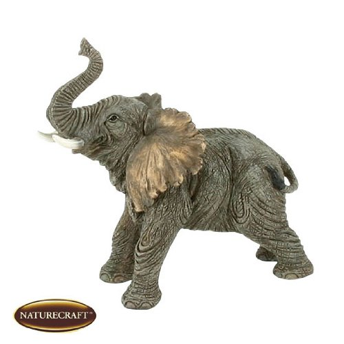 Naturecraft Figurines – 17cm Elephant Standing With Trunk Up Ornament
