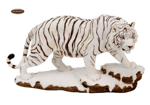 Naturecraft Realistic Animal Gift Ornament White Tiger on Snow