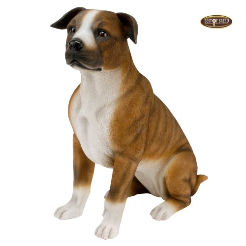 Best Of Breed by Naturecraft – Staffordshire Bull Terrier Seated Dog – Large 26cm