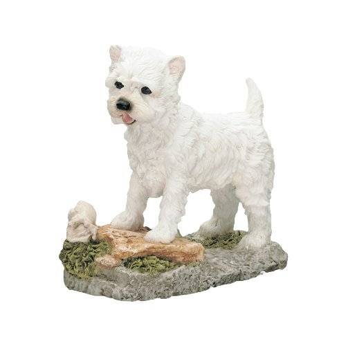 Hand Painted Best of Breed West Highland Terrier With Bone Ornament Gift Statue