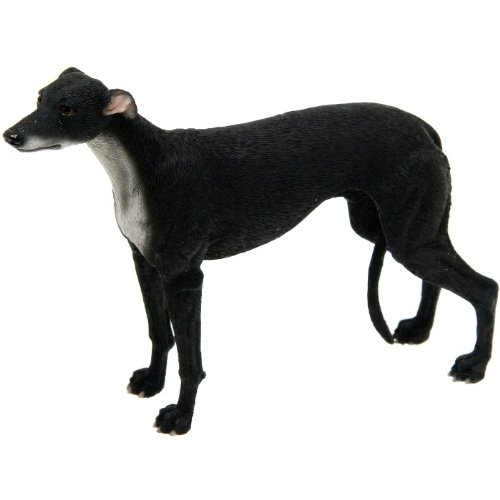 BEAUTIFUL BEST OF BREED BLACK GREYHOUND DOG FIGURE ORNAMENT DOGS NEW & BOXED