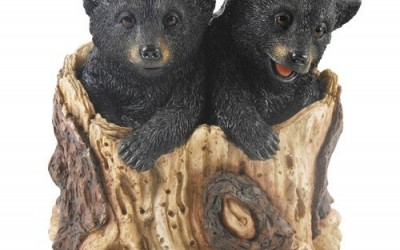 Realistic Naturecraft Two Bears In Tree Trunk Figurine