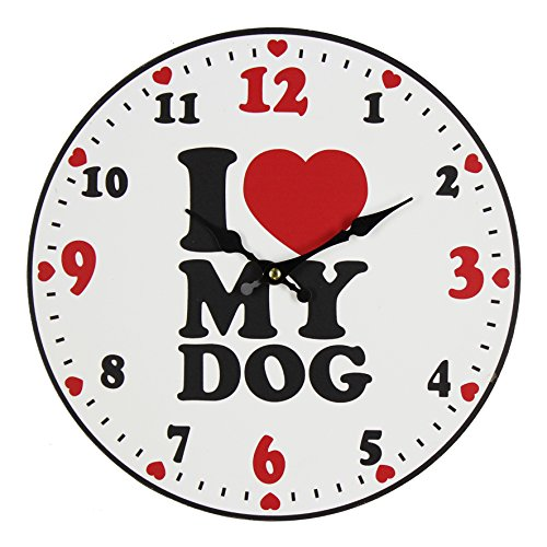 """Best of Breed 30cm Wooden Wall Clock – """"I Love My Dog"""""""