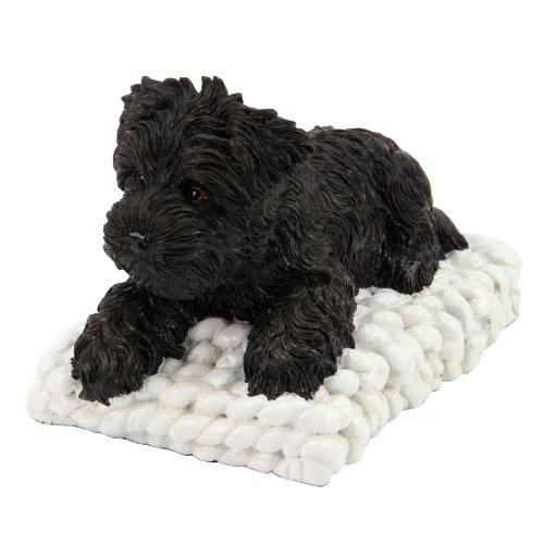 Pawz By Naturecraft Figurine – Black Puppy on Knitted Quilt